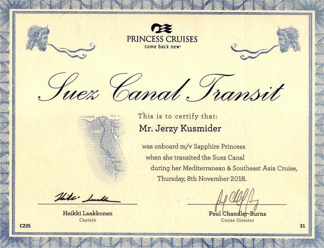 i38 Cert. Suez Canal - Jerzy