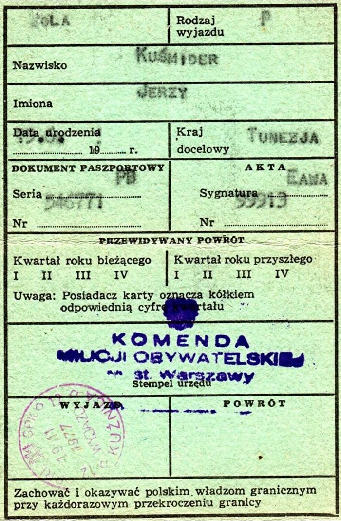 Pasport PRL wykazd
